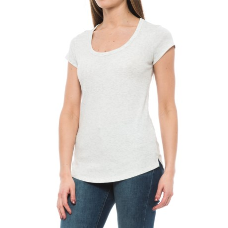 Cynthia Rowley Cotton-Modal T-Shirt - Scoop Neck, Short Sleeve (For Women) in Light Oatmeal Heather