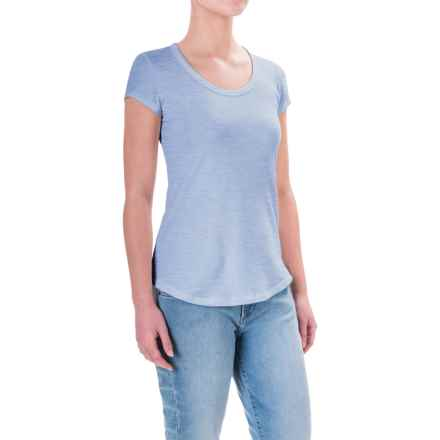 Cynthia Rowley Cotton-Modal T-Shirt - Scoop Neck, Short Sleeve (For Women) in Med. Blue Heather - Closeouts