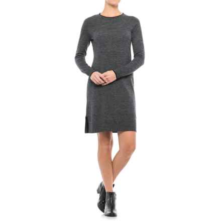 Cynthia Rowley Crew Neck Shift Dress - Merino Wool, Long Sleeve (For Women) in Graphite Twist Marl - Closeouts