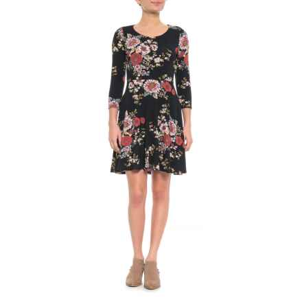 Cynthia Rowley Crew Neck Skater Dress - 3/4 Sleeve (For Women) in Tristan Floral - Closeouts