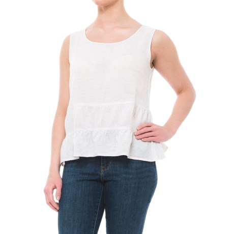 Cynthia Rowley Cross-Dye Linen Shirt - Scoop Neck, Sleeveless (For Women) in Old Lace/Ivory
