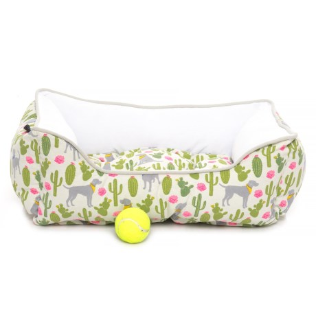 "Cynthia Rowley Dog and Cacti Reversible Cuddler Dog Bed - 24x19"" in Grey"