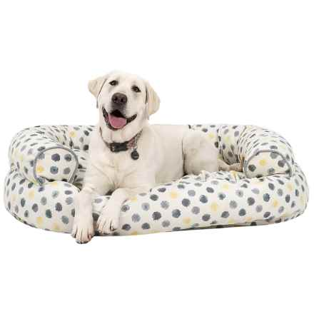 """Cynthia Rowley Dot Canvas Oval Couch Bolster Dog Bed - Extra-Large, 48x36"""" in Yellow/Grey - Overstock"""