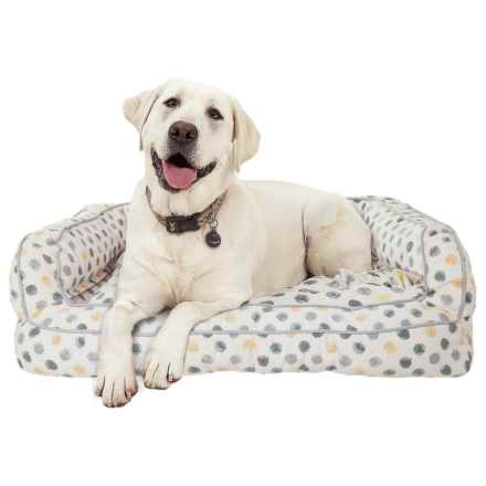 """Cynthia Rowley Dot Canvas Rectangle Couch Bolster Dog Bed - XXL, 43x29"""" in Yellow/Grey - Overstock"""