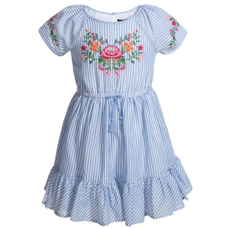 Cynthia Rowley Embroidered Dress - Short Sleeve (For Toddler Girls) in Bluestripe