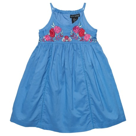 Cynthia Rowley Embroidered Floral Dress - Sleeveless (For Little and Big Girls) in Blue