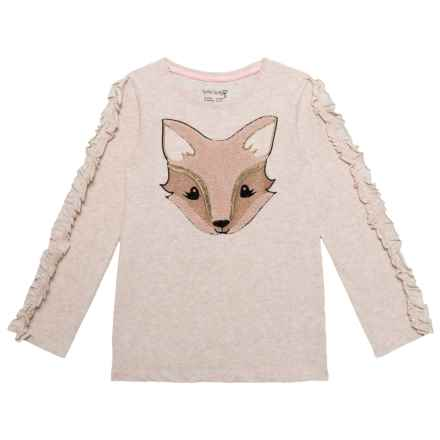 Cynthia Rowley Embroidered Fox Face Shirt - Long Sleeve (For Little and Big Girls) in Oatmeal Heather - Closeouts