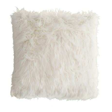 "Cynthia Rowley Faux-Mongolian-Fur Throw Pillow - 26x26"" in Ivory"