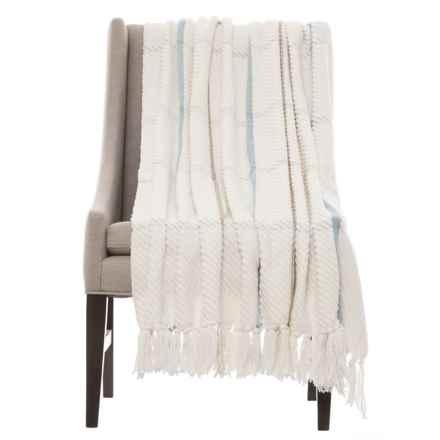"Cynthia Rowley Henley Throw Blanket - 50x60"" in White/Blue - Closeouts"