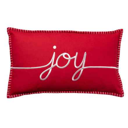 "Cynthia Rowley Holiday Joy Decor Throw Pillow - 14x24"", Feathers in Red - Closeouts"