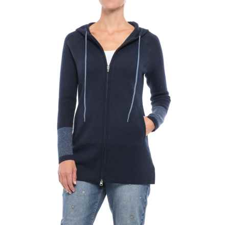 Cynthia Rowley Hooded Cardigan Sweater (For Women) in Midnight Navy/Blue Stack Heather - Closeouts