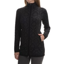 Cynthia Rowley Jacquard Cardigan Sweater - Zip Front (For Women) in Black/Volcano Ash - Closeouts
