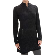 Cynthia Rowley Jacquard Pullover Sweater - Zip Neck (For Women) in Volcano Ash/Black - Closeouts