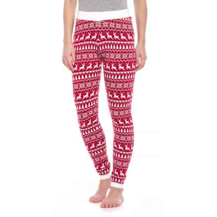 Cynthia Rowley Jacquard Reindeer Leggings (For Women) in Ivory Solid, Cranberry Crimson - Closeouts