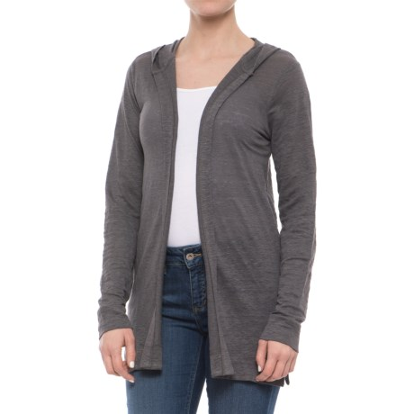 Cynthia Rowley Linen Hooded Cardigan Shirt - Long Sleeve (For Women) in Volcanic