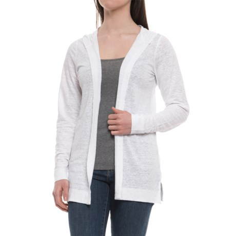 Cynthia Rowley Linen Hooded Cardigan Shirt - Long Sleeve (For Women) in White
