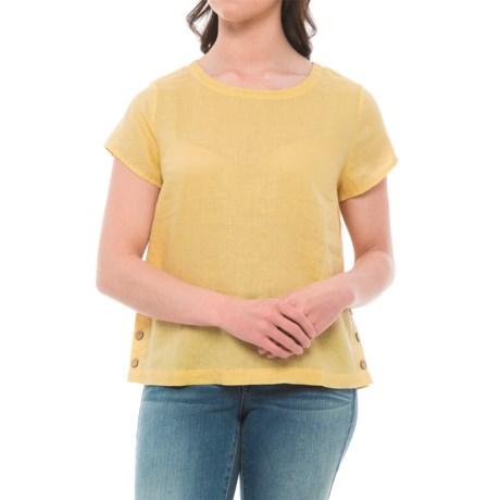 Cynthia Rowley Linen Side-Button Shirt - Short Sleeve (For Women) in Butter