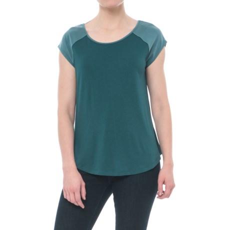 Cynthia Rowley Mixed Media Raglan Shirt - Short Sleeve (For Women) in Teal