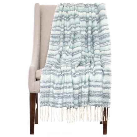 "Cynthia Rowley Mohair Stripe Throw Blanket - 50x60"" in Blue - Closeouts"