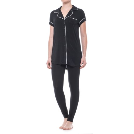 Cynthia Rowley Notch Collar Pajamas - Short Sleeve (For Women) in Black/White