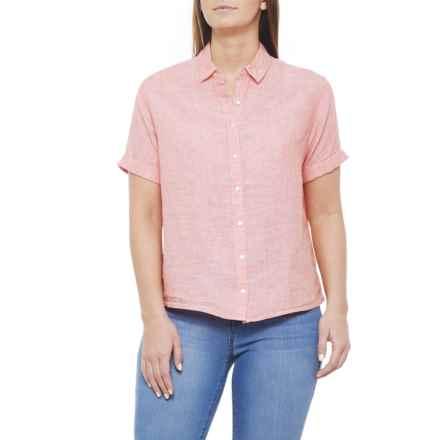 Cynthia Rowley Peach Bellini Crossdye Shirt - Linen, Short Sleeve (For Women) in Peach Bellini Crossdye - Closeouts