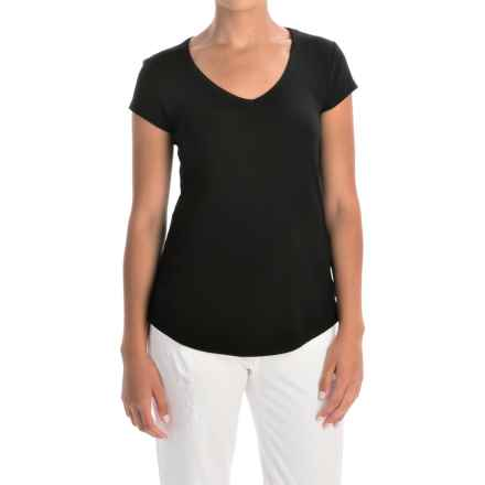 Cynthia Rowley Pima Cotton-Modal V-Neck T-Shirt - Short Sleeve (For Women) in Black - Overstock