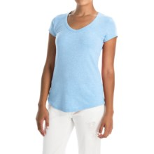 Cynthia Rowley Pima Cotton-Modal V-Neck T-Shirt - Short Sleeve (For Women) in Medium Blue Heather - Closeouts