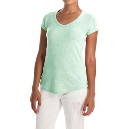 Cynthia Rowley Pima Cotton-Modal V-Neck T-Shirt - Short Sleeve (For Women) in Palm Heather - Overstock