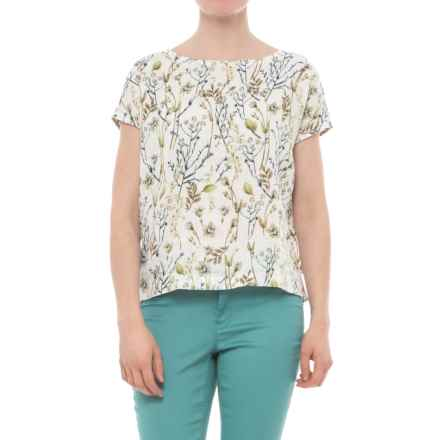 Cynthia Rowley Printed Button-Back Shirt - Linen, Short Sleeve (For Women) in Botanical Bliss - Closeouts