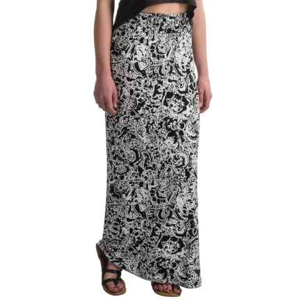 Cynthia Rowley Rayon Smocked Waistband Maxi Skirt (For Women) in Black - Overstock