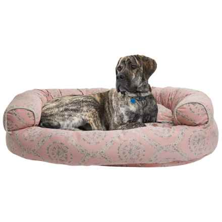 """Cynthia Rowley Rhode Medallion Round Couch Dog Bed - X-Large, 48x36"""" in Coral/Tan - Closeouts"""