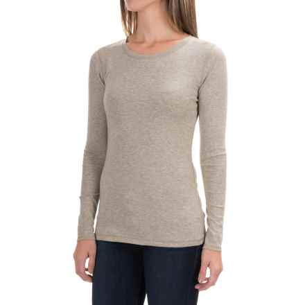 Cynthia Rowley Ribbed Scoop Neck Shirt - Pima Cotton-Modal, Long Sleeve (For Women) in Medium Oatmeal Heather - Closeouts