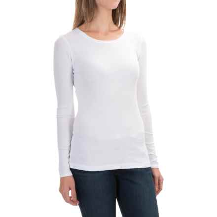 Cynthia Rowley Ribbed Scoop Neck Shirt - Pima Cotton-Modal, Long Sleeve (For Women) in White - Closeouts