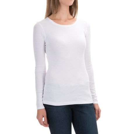 Cynthia rowley ribbed scoop neck shirt for women save 29 for Scoop neck long sleeve shirt