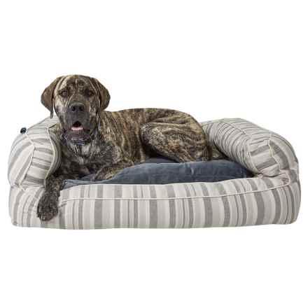 "Cynthia Rowley Sandie Oxford Stripe 2XL Bolster Dog Bed - 43x29"" in Sandie Oxford Stripe - Closeouts"