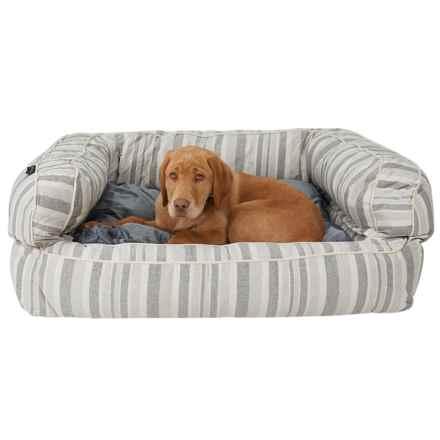 "Cynthia Rowley Sandie Oxford Stripe XL Bolster Dog Bed - 36x27"" in Sandie Oxford Stripe - Closeouts"