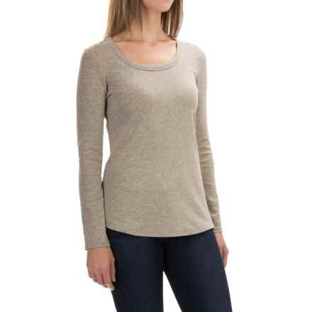 Cynthia Rowley Scoop Neck Shirt - Pima Cotton-Modal, Long Sleeve (For Women) in Medium Oatmeal Heather - Closeouts