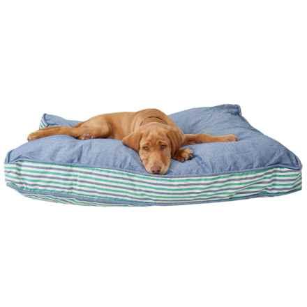 "Cynthia Rowley Sea Glass Denim XL Rectangle Dog Bed - 40x28"" in Green/Denim - Closeouts"