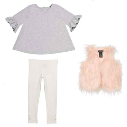 Cynthia Rowley Shirt with Faux-Fur Vest and Long Leggings - 3/4 Sleeve (For Toddler Girls) in Heather Grey Ivory Pink - Closeouts