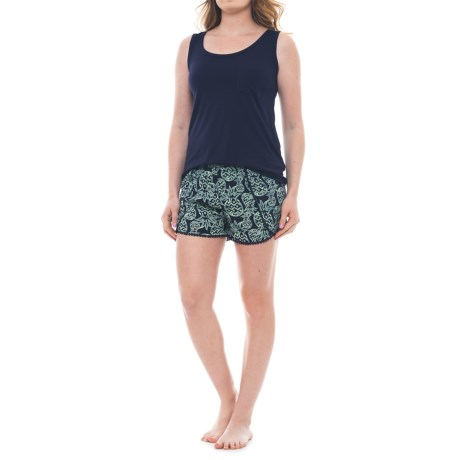 Cynthia Rowley Shorty Sleep Set - Sleeveless (For Women) in Navy/Stamped Pineapple Navy