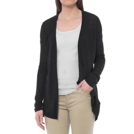 Cynthia Rowley Split-Back Linen Cardigan Sweater - Open Front (For Women) in Black
