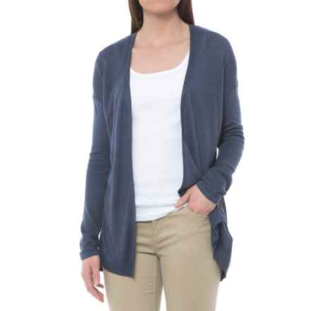 Cynthia Rowley Split-Back Linen Cardigan Sweater - Open Front (For Women) in Deep Indigo Solid - Closeouts
