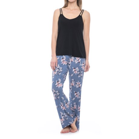 Cynthia Rowley Strappy Tank Top and Floral Pants Pajamas - Shelf Bra (For Women) in Dust