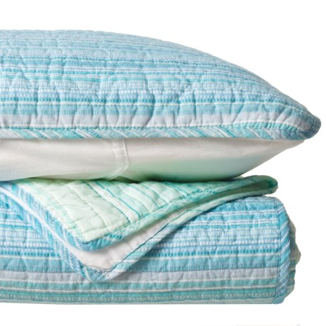 Cynthia Rowley SW Stripe New Quilt Set - Full-Queen in Blue Green