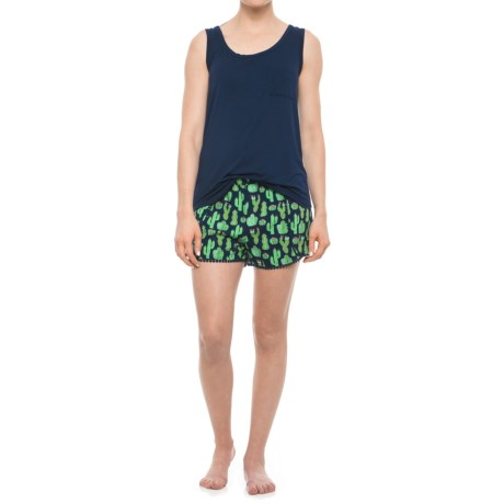 Cynthia Rowley Tank Top with Cactus Shorts Set - Scoop Neck, Sleeveless (For Women) in Navy/Pink
