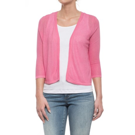 Cynthia Rowley Textured Stitch Cardigan Sweater - Linen Blend, 3/4 Sleeve (For Women) in Pink Papaya