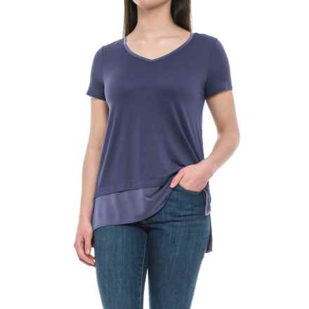 Cynthia Rowley V-Neck Layered Look Shirt - Short Sleeve (For Women) in Washed Slate - Closeouts