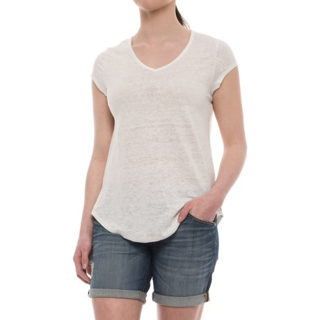 Cynthia Rowley V-Neck Linen Shirt - Short Sleeve (For Women) in Oyster