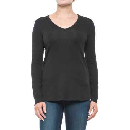 Cynthia Rowley V-Neck Shirt - Pima Cotton-Modal, Long Sleeve (For Women) in Black - Closeouts
