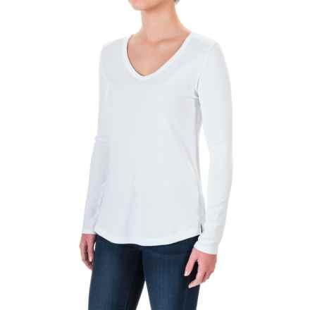 Cynthia Rowley V-Neck Shirt - Pima Cotton-Modal, Long Sleeve (For Women) in White - Closeouts